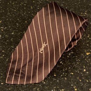 YSL Yves Saint Laurent Stripe Silk Tie
